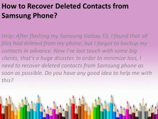 How to Recover Deleted Contacts from Samsung Phone