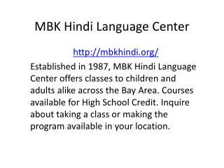 MBK Hindi Language Center