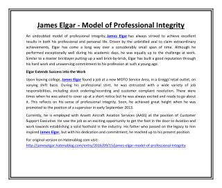 James Elgar - Model of Professional Integrity
