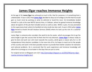 James Elgar reaches Immense Heights