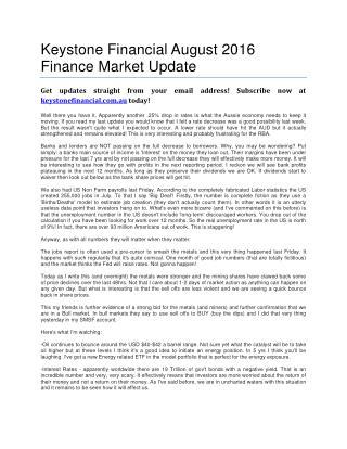 Keystone Financial August 2016 Finance Market Update