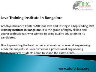 Java Training Institute In Bangalore