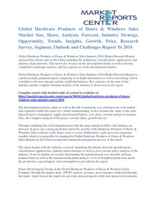 Hardware Products of Doors & Windows Sales Market Segmentation and Forecast To 2016