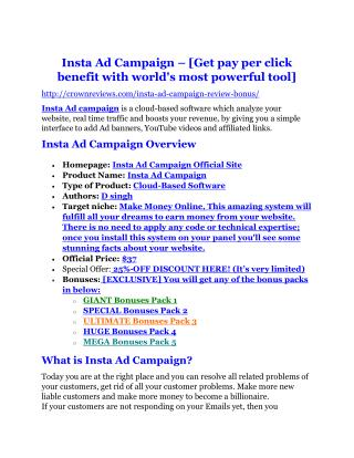 Insta Ad Campaign review & SECRETS bonus of Insta Ad Campaign