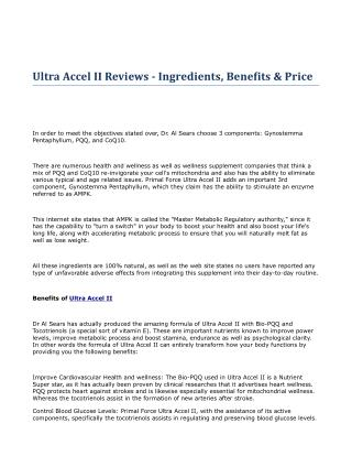Ultra Accel II Reviews - Ingredients, Benefits & Price