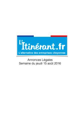 Annonces légales : L'Itinérant 1138