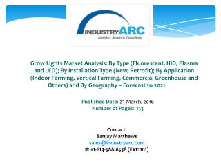 Grow Lights Market: increasing use as growing bulb indoors for hydroponic farming set up during 2016-2021.