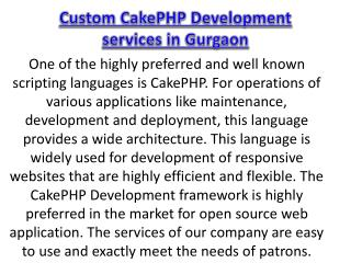 Custom CakePHP Development services in Gurgaon