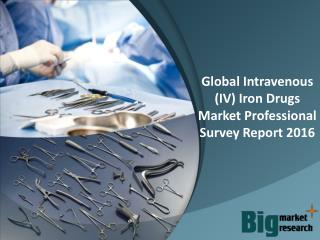 Intravenous (IV) Iron Drugs Industry Trends, Demand & 2020 Forecasts