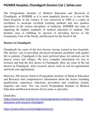 PGIMER Hospital, Chandigarh Doctors List | Sehat