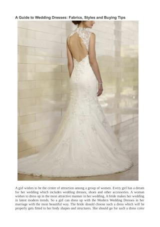 A Guide to Wedding Dresses: Fabrics, Styles and Buying Tips