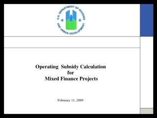 Operating  Subsidy Calculation  for  Mixed Finance Projects