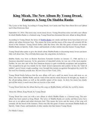 King Micah, the New Album by Young Dread, Features a Song on Shabba Ranks