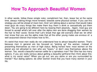 How To Approach Beautiful Women