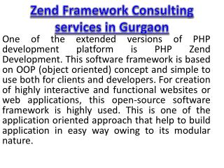 Zend Framework Consulting services in Gurgaon