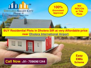 Book residential plots in Dholera SIR