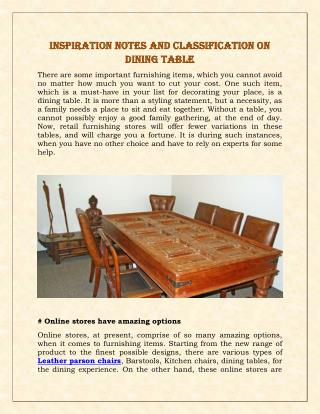 Inspiration Notes And Classification On Dining Table