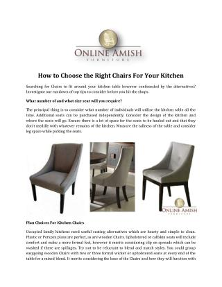 How to Choose the Right Chairs For Your Kitchen