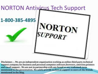 I-8OO 385-4895. Norton Antivirus Issue Customer Support Phone Number