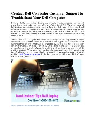 Contact Dell Customer Support to Troubleshoot Your Computer | Dellsupportnumber.com