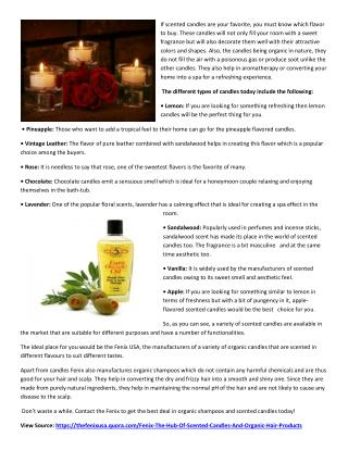 Fenix The Hub Of Scented Candles And Organic Hair Products