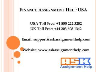 Finance Assignment Help USA, Finance Homework Help USA