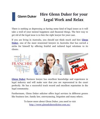 Hire Glenn Duker for your Legal Work and Relax