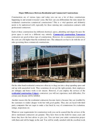 Residential Construction Calgary, Commercial COnstruction