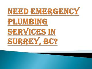 Necessity of Emergency Plumbing Services in Surrey, BC