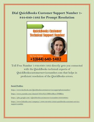 Dial QuickBooks Customer Support Number 1-844-640-1482 for Prompt Resolution
