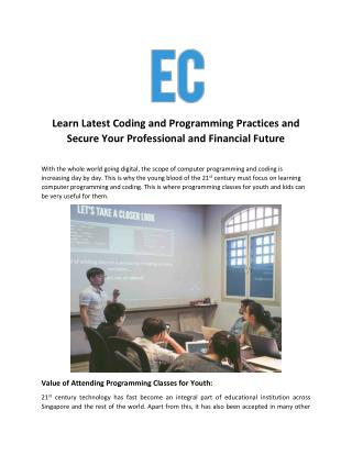 Learn Latest Coding and Programming Practices and Secure Your Professional and Financial Future