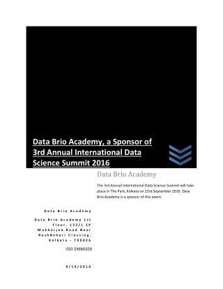 Data Brio Academy, a Sponsor of Data Science Summit