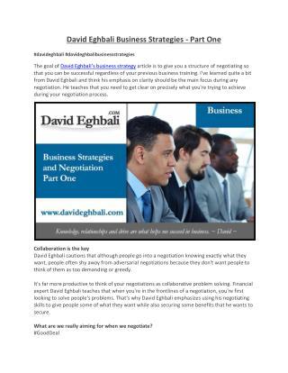 David Eghbali Business Strategies - Part One