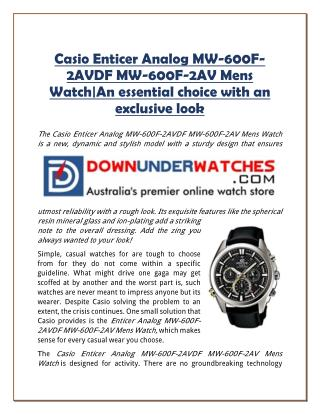 Casio Enticer Analog MW-600F-2AVDF MW-600F-2AV Mens Watch|An essential choice with an exclusive look