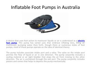 Inflatable Foot Pumps in Australia