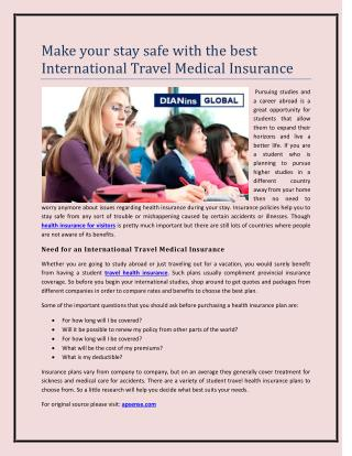 Make your stay safe with the best International Travel Medical Insurance