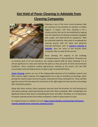 Get hold of paver cleaning in adelaide from cleaning companies