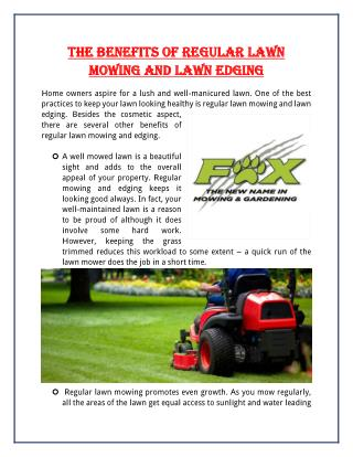 The Benefits Of Regular Lawn Mowing And Lawn Edging