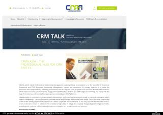 CRMA ASIA – THE PROFESSIONAL HUB FOR CRM AND CX