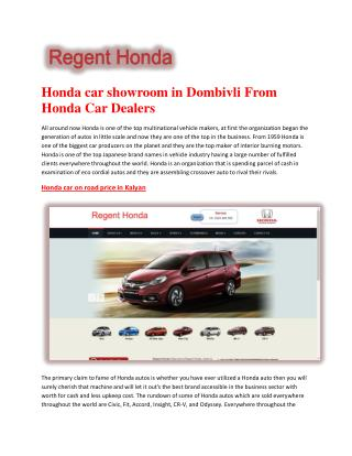 Honda car showroom in Dombivli