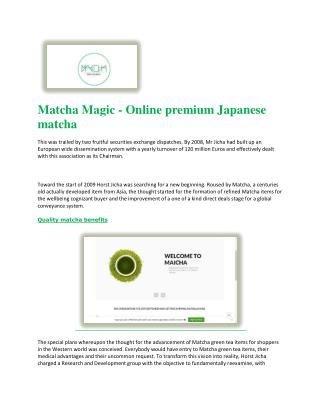 Quality matcha benefits