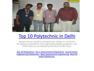 Top 10 Polytechnic in Delhi