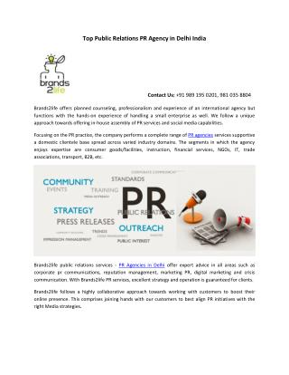 Top Public Relations PR Agency in Delhi India