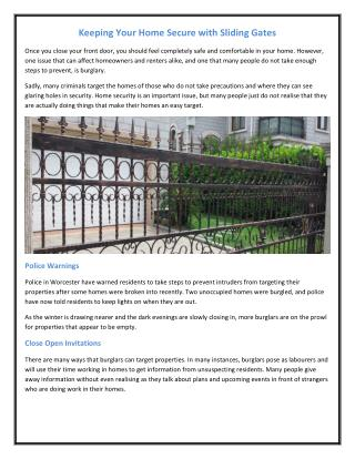 Keeping Your Home Secure with Sliding Gates