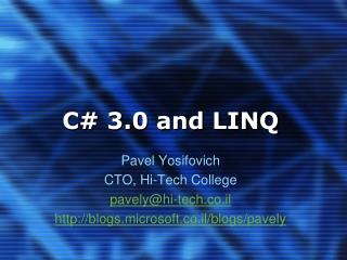 C 3.0 and LINQ