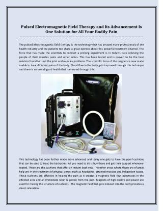 Pulsed Electromagnetic Field Therapy and Its Advancement Is One Solution for All Your Bodily Pain