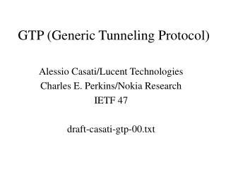GTP Generic Tunneling Protocol