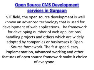 Open Source CMS Development services in Gurgaon