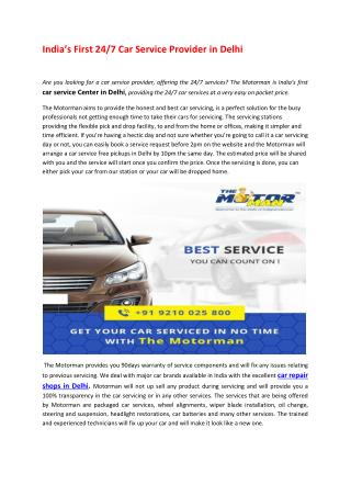 India's First 24/7 Car Service Provider in Delhi