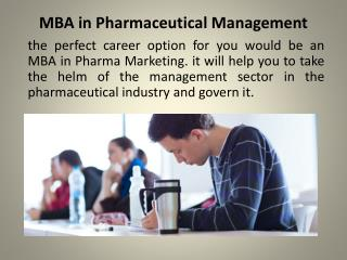 MBA in Pharmaceutical Management